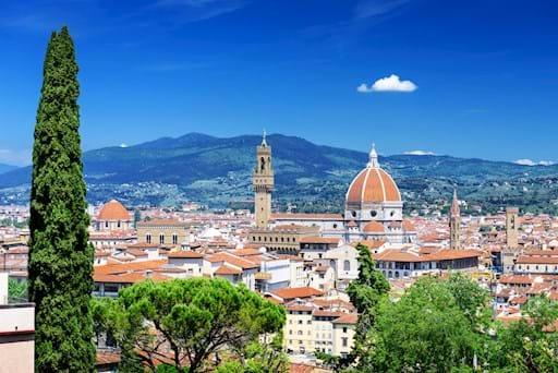 panoramic shot trees Duomo Florence