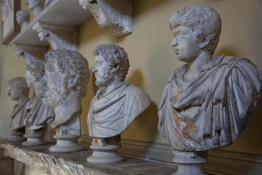 Chest statues in Gallery Vatican Museums