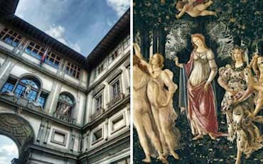 Bottom view of the  Uffizi Gallery and the  The Allegory of Spring painting by Botticelli