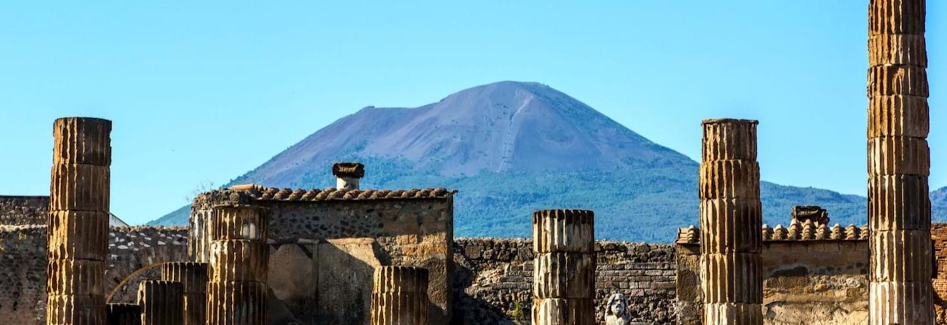 Ruins of Pompeii and Mt. Vesuvius at the back, Italy