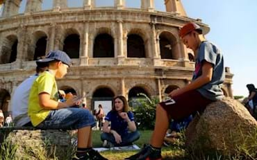 Kids learning about the Ancient Rome from a Tour Guide