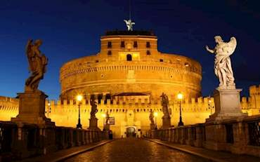 Castel Sant Angelo and bridge over River Tiber at night