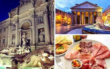 Trevi Fountain, Pantheon and appetizers in Rome