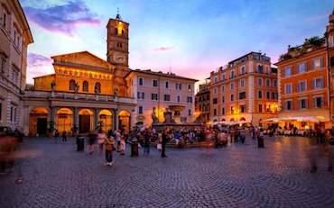 Beautiful Trastevere Church Square Evening in Rome