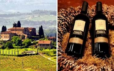 Tuscany traditional farm in the countryside and Brunello Wine