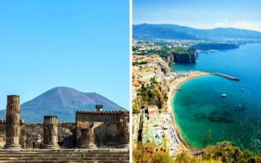 Pompeii ruins at the Pompeii excavation site and Sorrento Bay