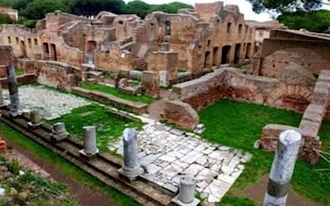 Ostia Antica ancient walls, tiles and columns
