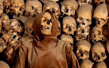 Skulls in the Roman Catacombs in Italy