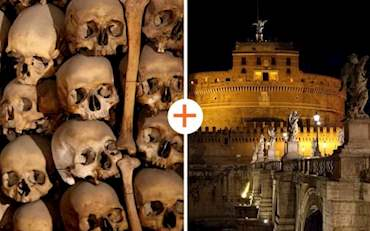 Skull and Bones from the Catacombs of Rome, Castel saint Angelo at night