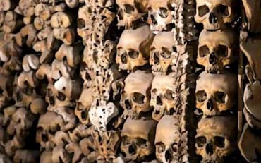 Skulls and bones of the Catacombs of Rome