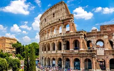 Colosseum Arena with tourists seen from outside