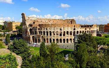 Ancient Colosseum Arena seen from outside in Rome