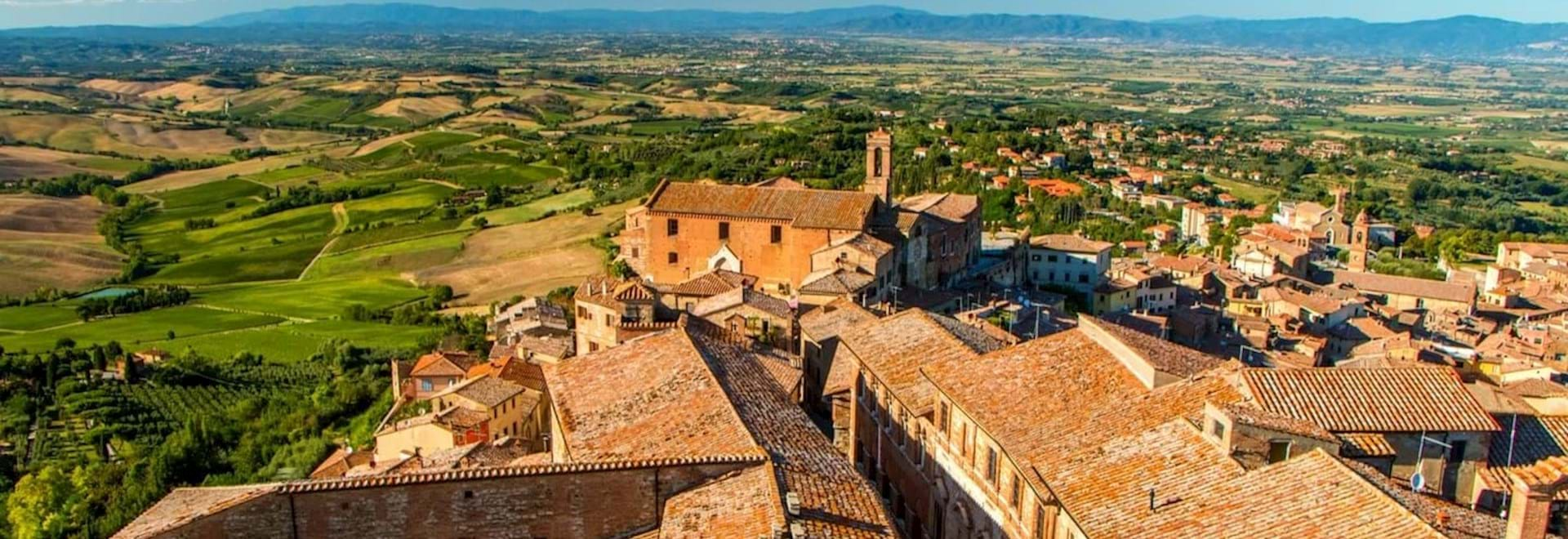 Beautiful view of the roofs in Moltepulciano, Italy