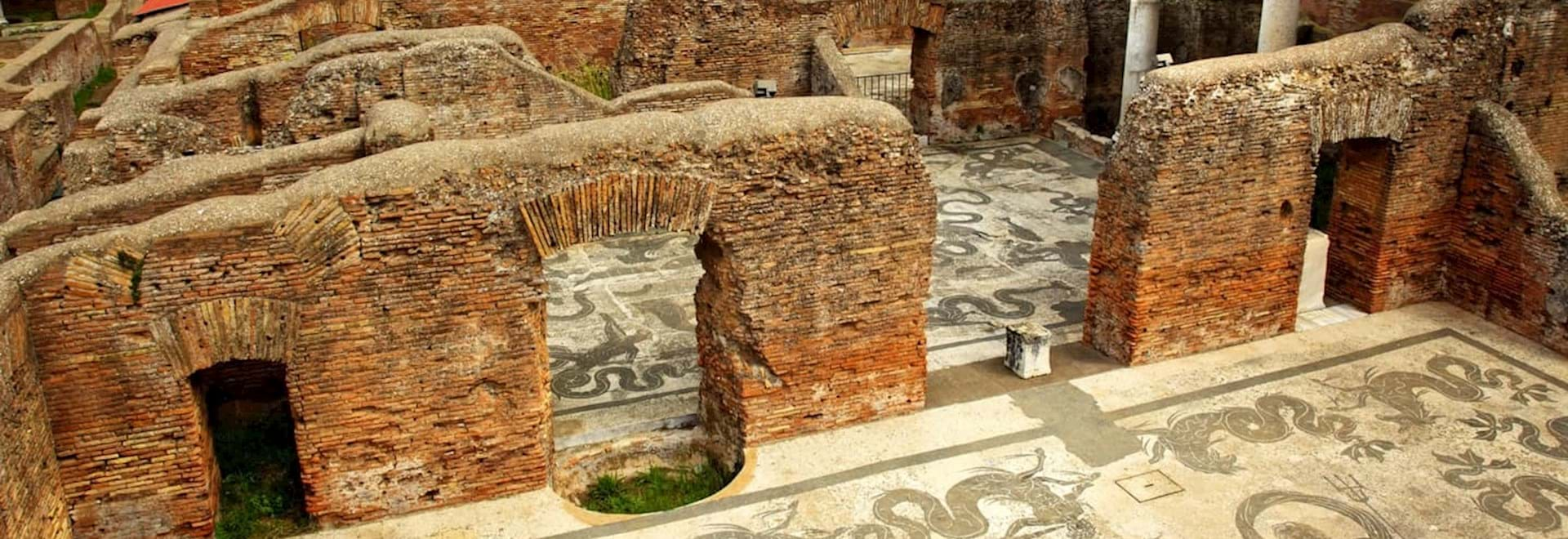 Ostia Antica well preserved walls and tiles