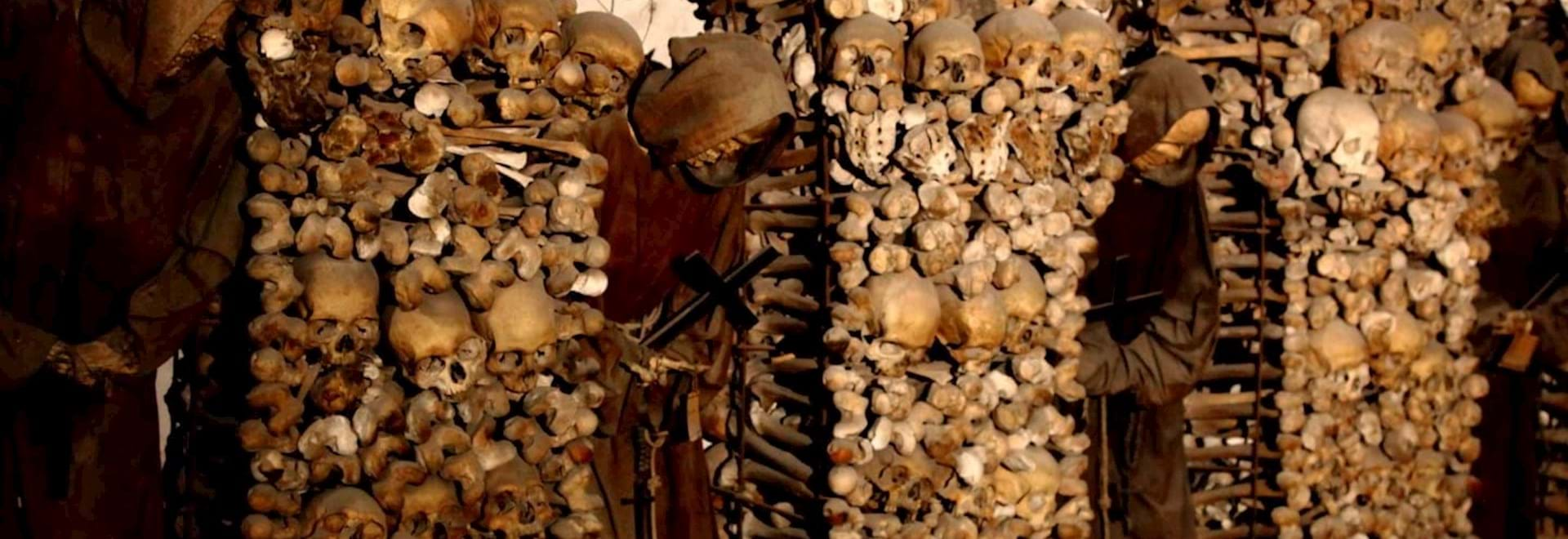 Skull and bones at the Catacombs of Rome