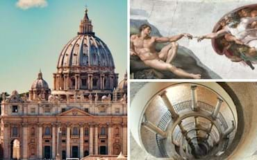 Vatican City and it is main attractions: St. Pete's Basilica, Sistine Chapel and Bramante Staircase in the Vatican Museums