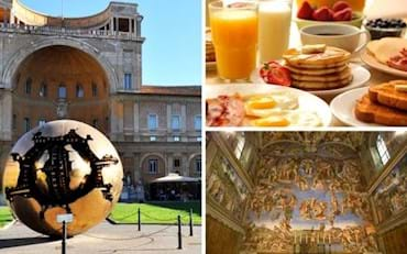 Pinecone Courtyard, Breakfast at the Vatican and Sistine Chapel