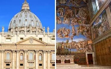 Main attractions to be seen in the Vatican City, St. Peter's Basilica and Sistine Chapel