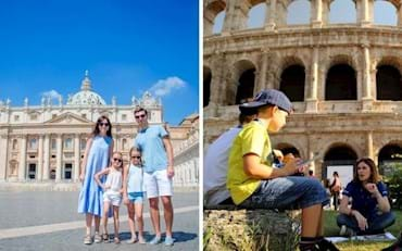 Families enjoying tours of the Vatican and the Colosseum