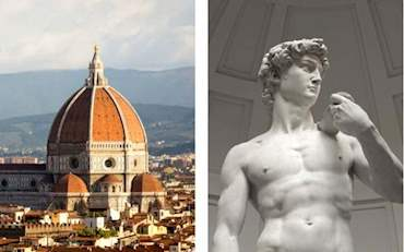 Florence Duomo and Sculpture of David by Michelangelo