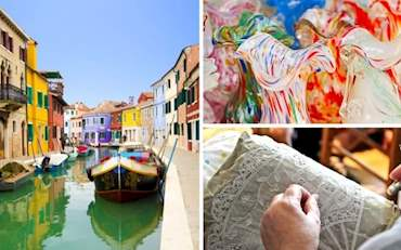 Burano Colorful Houses and Canal, Murano glasses and lace-making in Italy