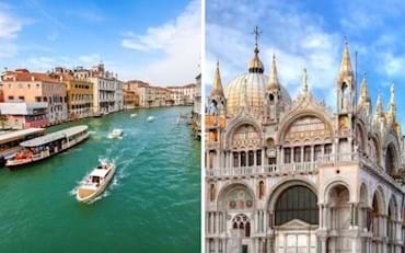 Venice Grand Canal, Water Taxi and St. Mark's Basilica