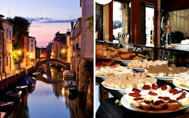 Canal at the Jewish Ghetto Neighborhood and Cicchetti, traditional Venice Food