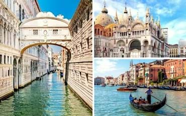 Main tourist sights in Venice: Bridge of Sights, Grand Canal and St. Mark's Basilica