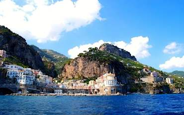 Beautiful Houses on the coast of Amalfi in the South of Italy