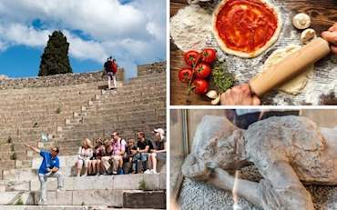 Amphitheater of Pompeii, pizza lunch and petrified body in Pompeii