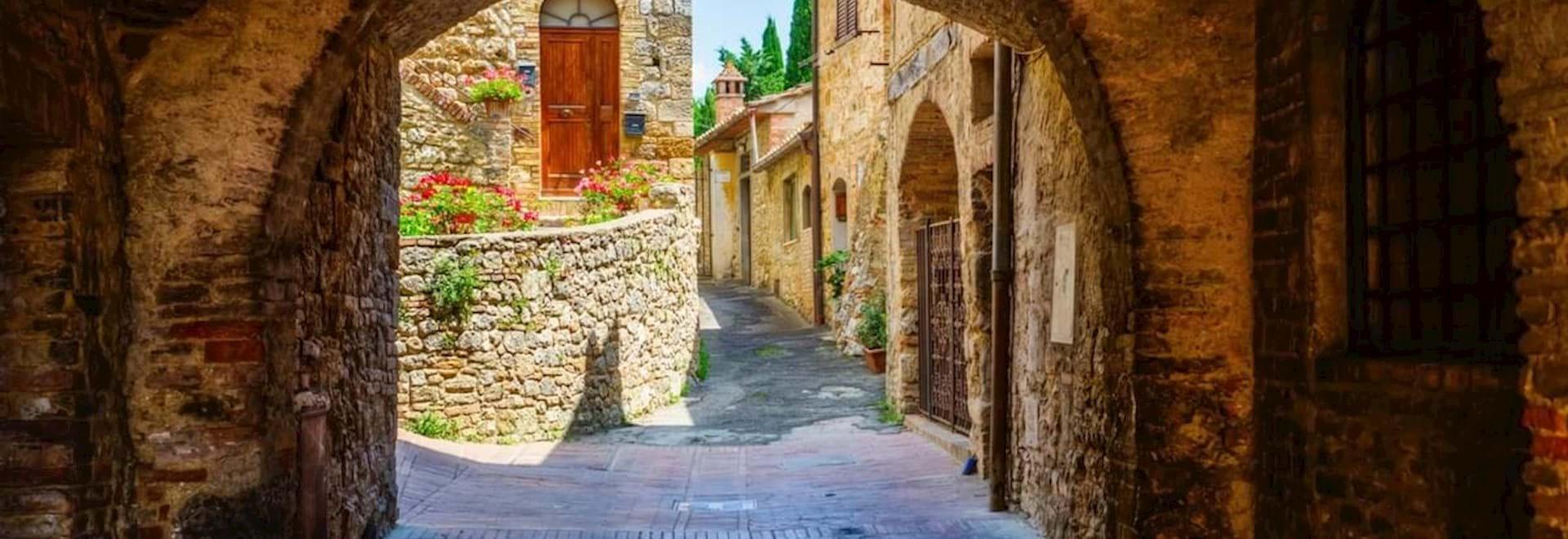 The streets of San Gimignano through an arch