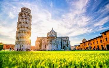 Famous Piazza dei Miracoli in Pisa, Italy