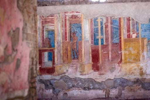 Frescoes at an old Pompeii house