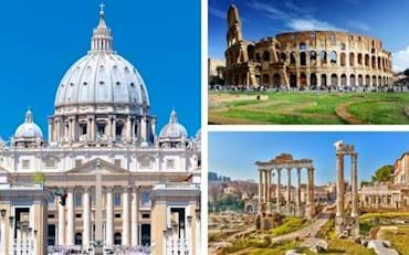Vatican with front view of St. Peter, Roman Forum and the Colosseum