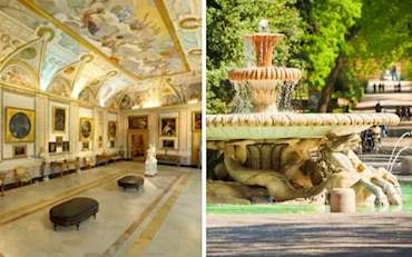 View of the Borghese Gallery and the famouse Ornate fountain with horses