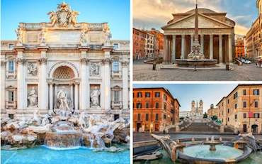 Rome City Centre with Travi Fountain, Spanish Steps and Pantheon.