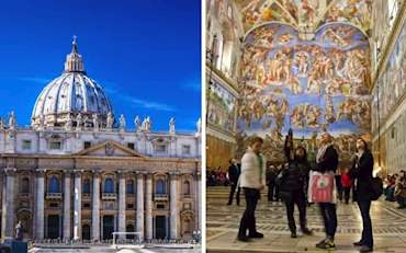 Vatican with front view of St. Peter and Sistine Chapel