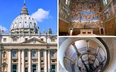 Vatican with front view of St. Peter, the  Sistine Chapel altar and painting plus the Bramante Staircase
