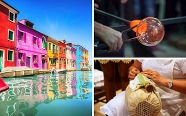Burano and Murano Islands near Venice in Italy