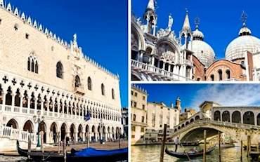 Doge's Palace, St. Mark's Basilica and Rialto Bridge in Venice on a sunny day