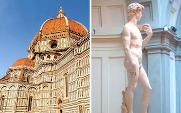 The spectacular Florence Cathedral with the magnificent Michelangelo's David in Florence