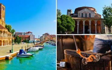 Venetian houses along the canal at the Islands of Murano in Venice, Live glass blowing and Santa Fosca Church