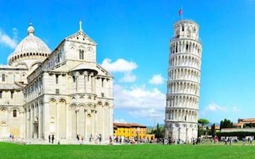 Leading tower of Pisa in Piazza dei Miracoli, Italy.