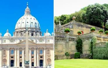Beautiful picture of St. Peter Basilica on a summer day and a view of the marvellous garden in Castel Gandolfo