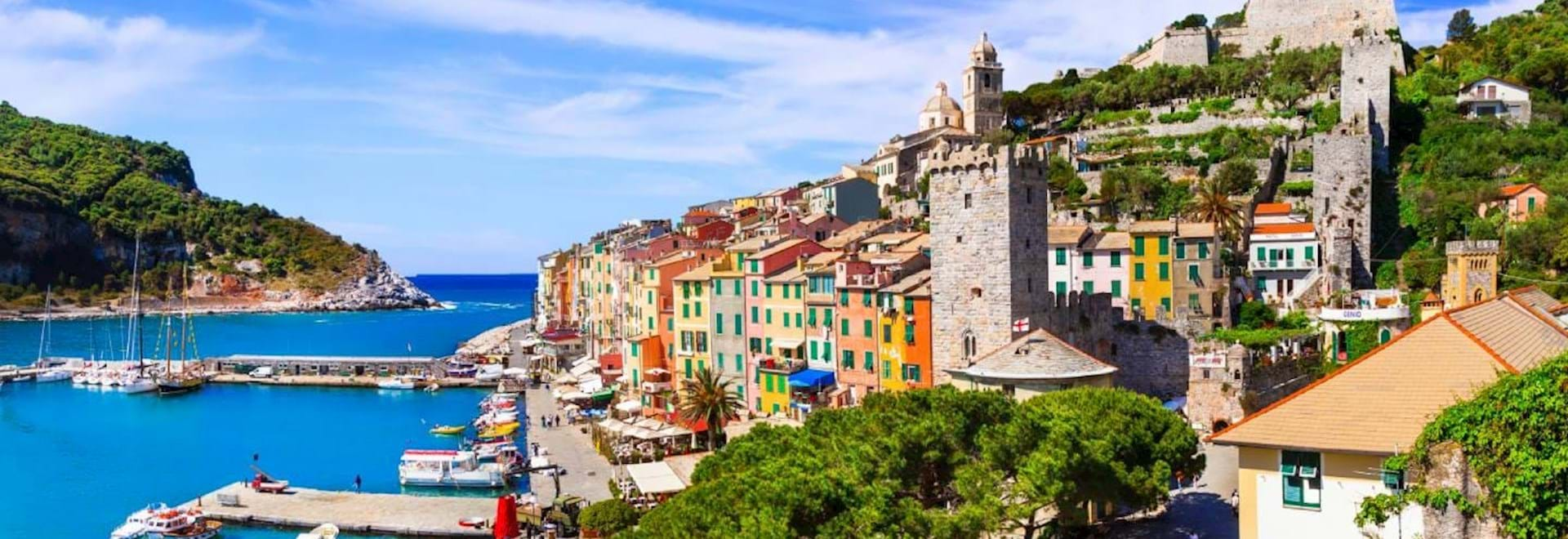 Beautiful view of Portovenere in Italy on a sunny summer day