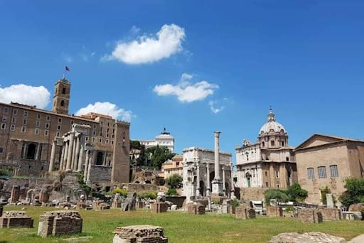 View of the Roman Forum in Rome on a sunny day