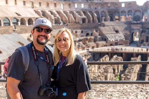 Tourist enjoying their visit of the Colosseum