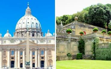 Beautiful view of the gardens in Castel Gandolfo and St. Peter Basilica