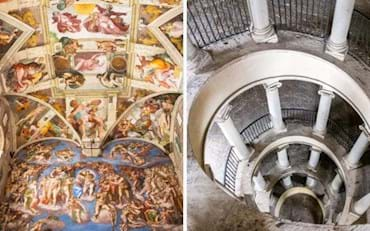 View of the Last Judgment painting inside the Sistine Chapel and the Bramante Staircase