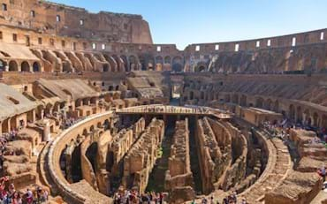 View of the inside of the Colosseum with the Arena floor and Underground on a sunny day